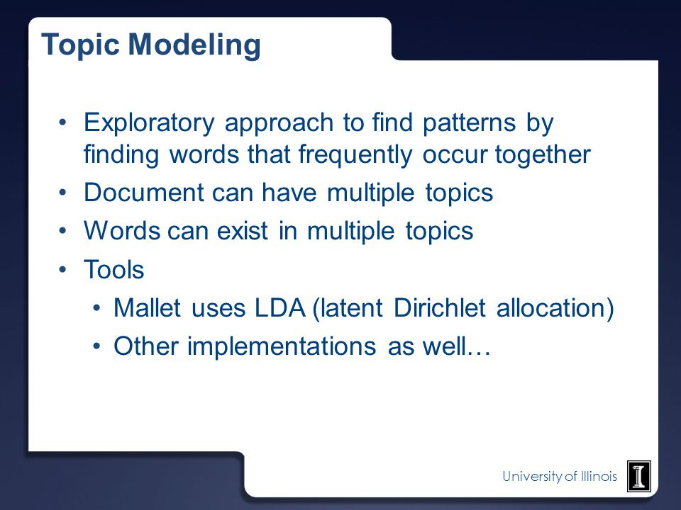 Topic Modeling Exploratory approach to find patterns by finding words that frequently occur together.