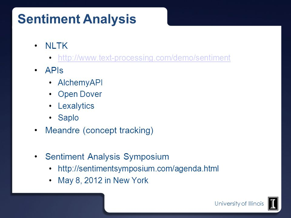 Sentiment Analysis NLTK APIs Meandre (concept tracking)