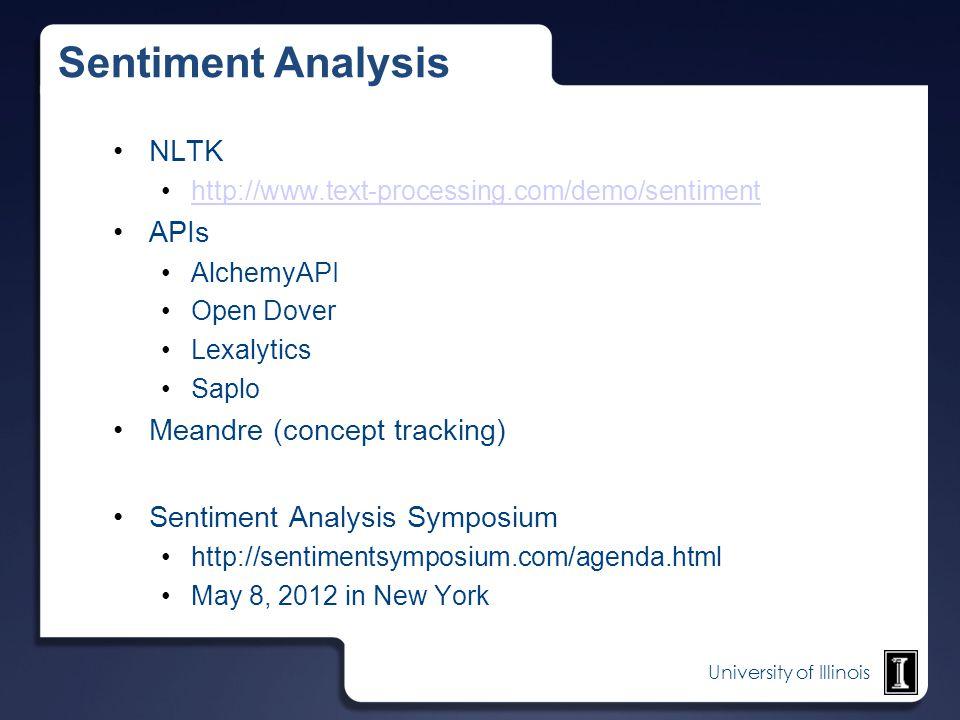 Sentiment Analysis NLTK APIs Meandre (concept tracking)