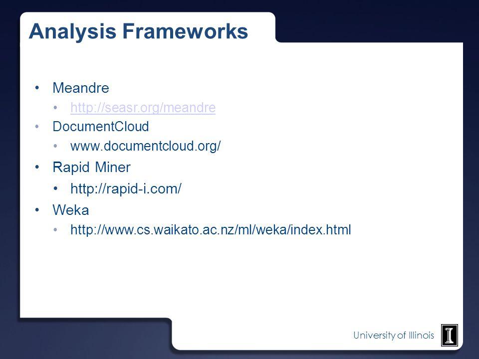 Analysis Frameworks Meandre Rapid Miner http://rapid-i.com/ Weka