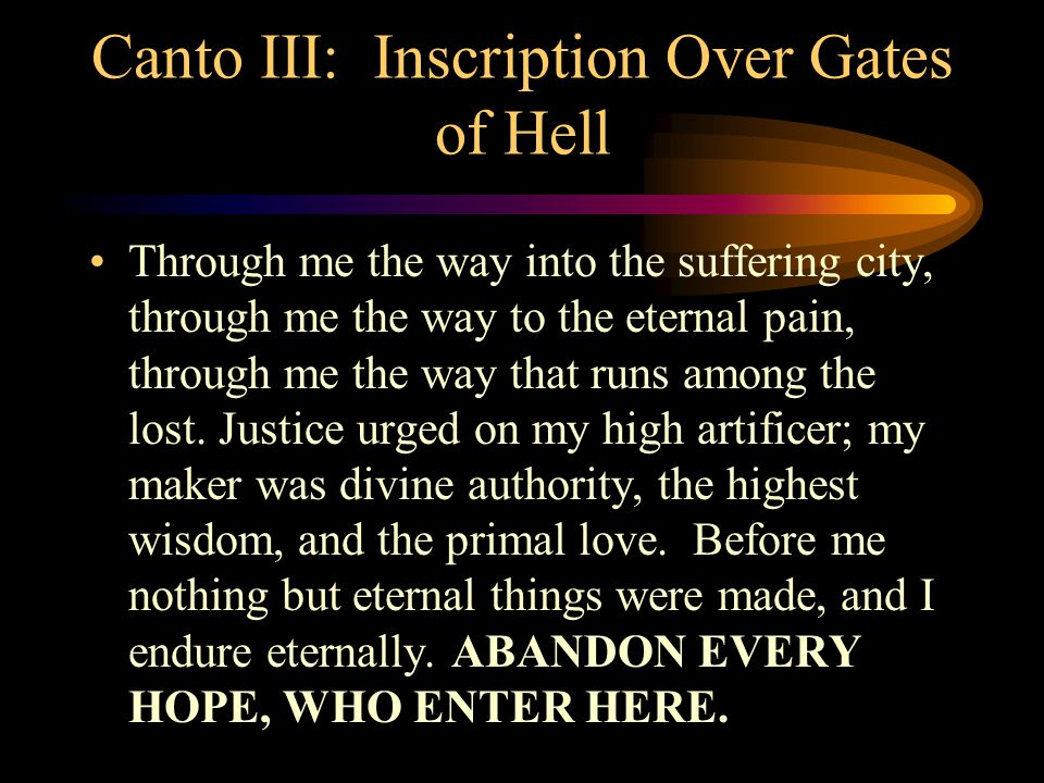 Canto III: Inscription Over Gates of Hell