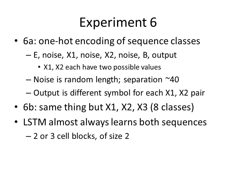 Experiment 6 6a: one-hot encoding of sequence classes