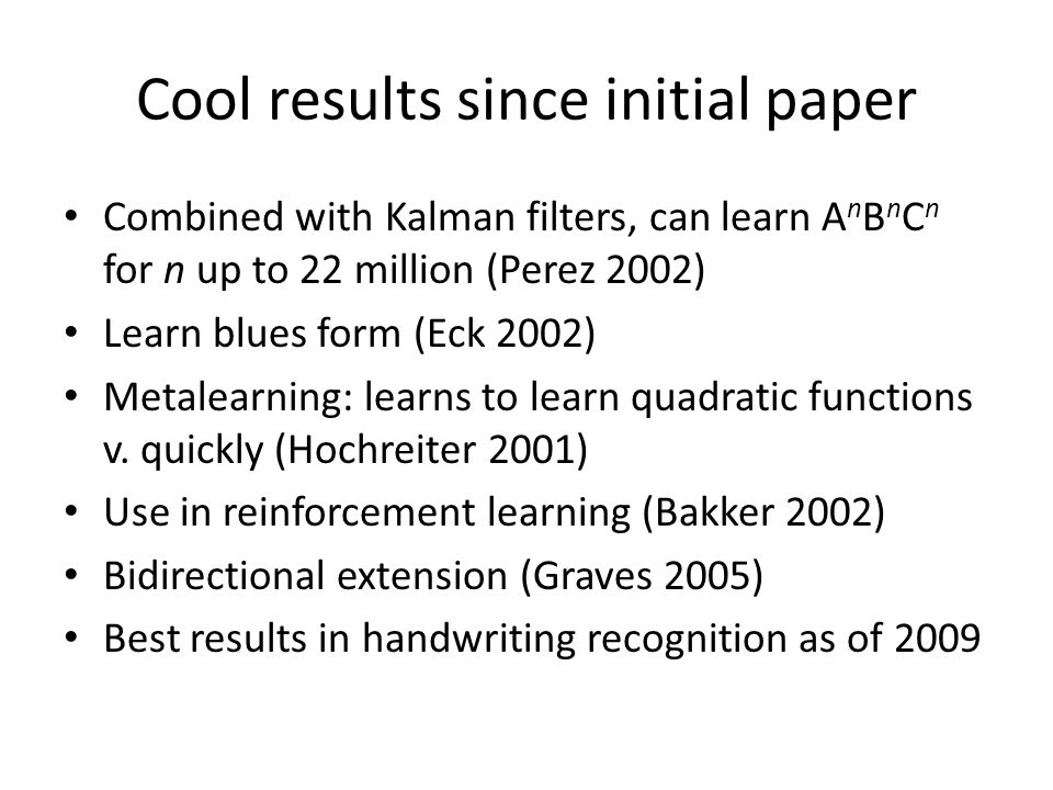 Cool results since initial paper