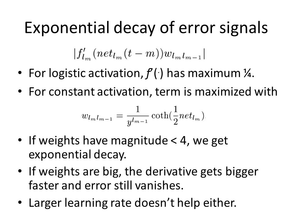 Exponential decay of error signals