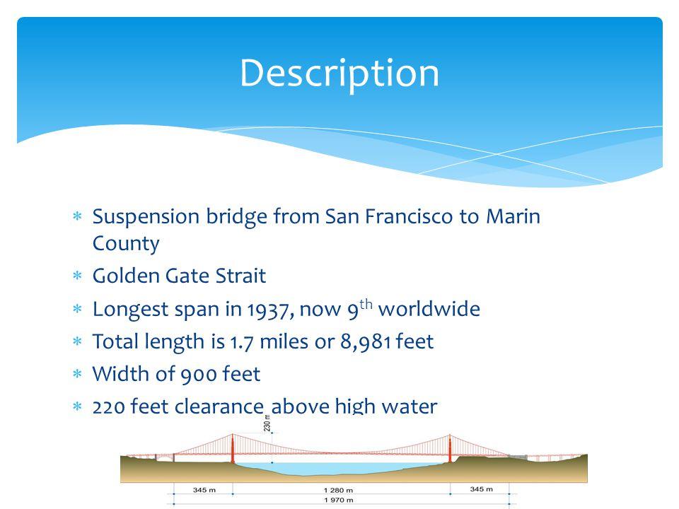 Description Suspension bridge from San Francisco to Marin County