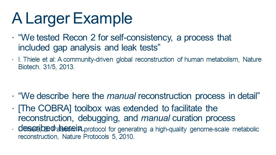 A Larger Example We tested Recon 2 for self-consistency, a process that included gap analysis and leak tests