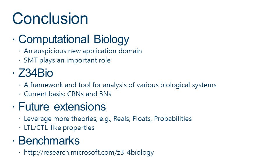 Conclusion Computational Biology Z34Bio Future extensions Benchmarks