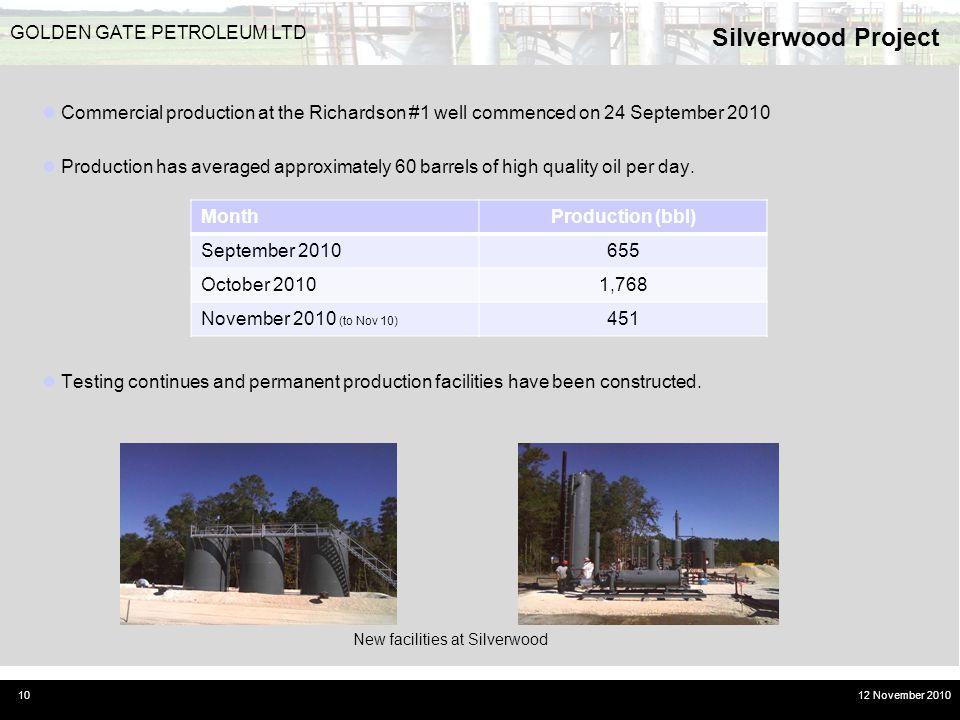 Silverwood Project GOLDEN GATE PETROLEUM LTD