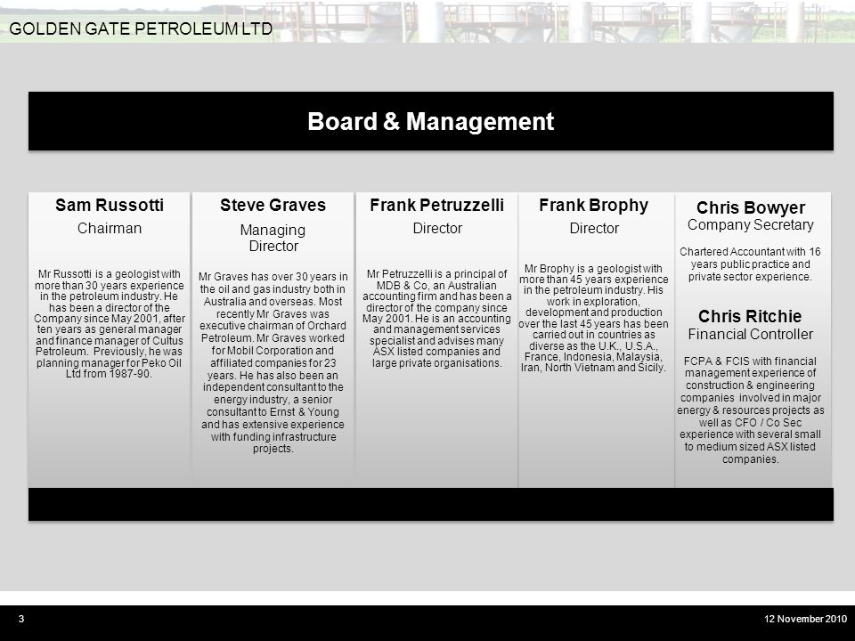 Board & Management GOLDEN GATE PETROLEUM LTD Chris Bowyer