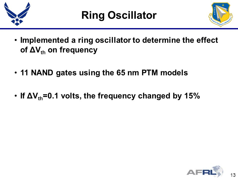 Ring Oscillator Implemented a ring oscillator to determine the effect of ΔVth on frequency. 11 NAND gates using the 65 nm PTM models.