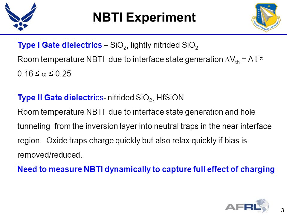 NBTI Experiment Type I Gate dielectrics – SiO2, lightly nitrided SiO2