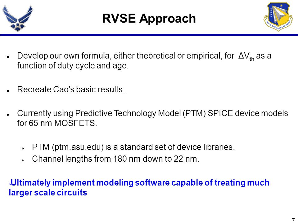 RVSE Approach Develop our own formula, either theoretical or empirical, for ΔVth as a function of duty cycle and age.