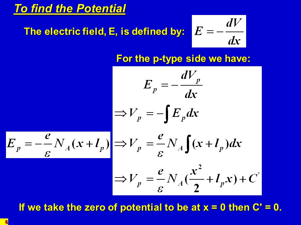 To find the Potential The electric field, E, is defined by: