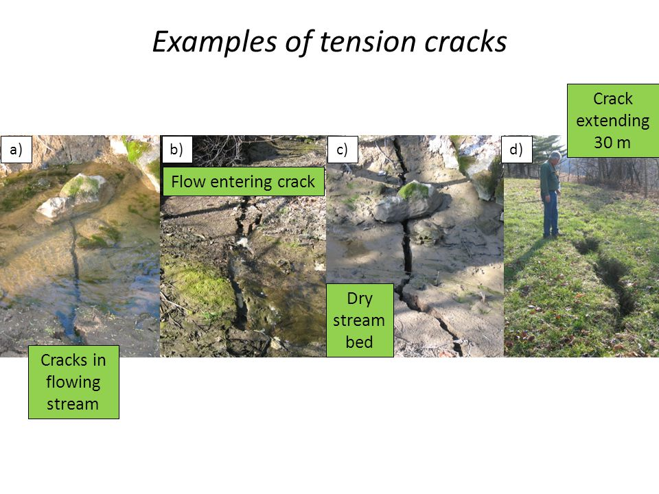 Examples of tension cracks