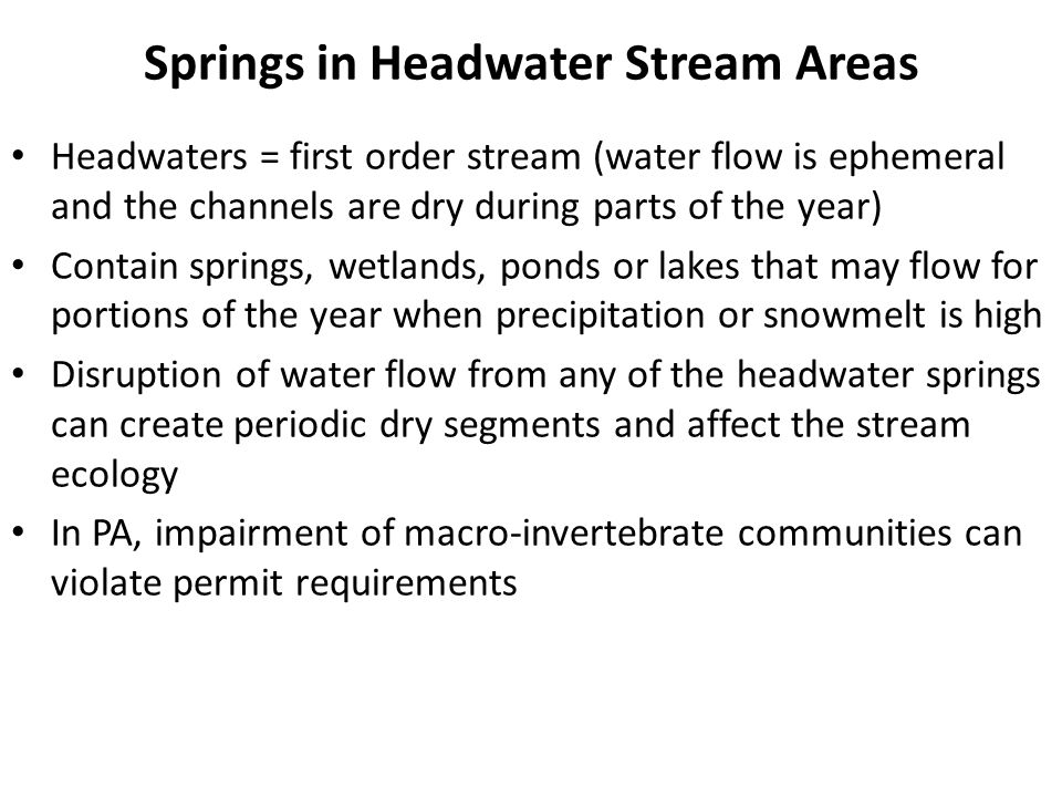 Springs in Headwater Stream Areas