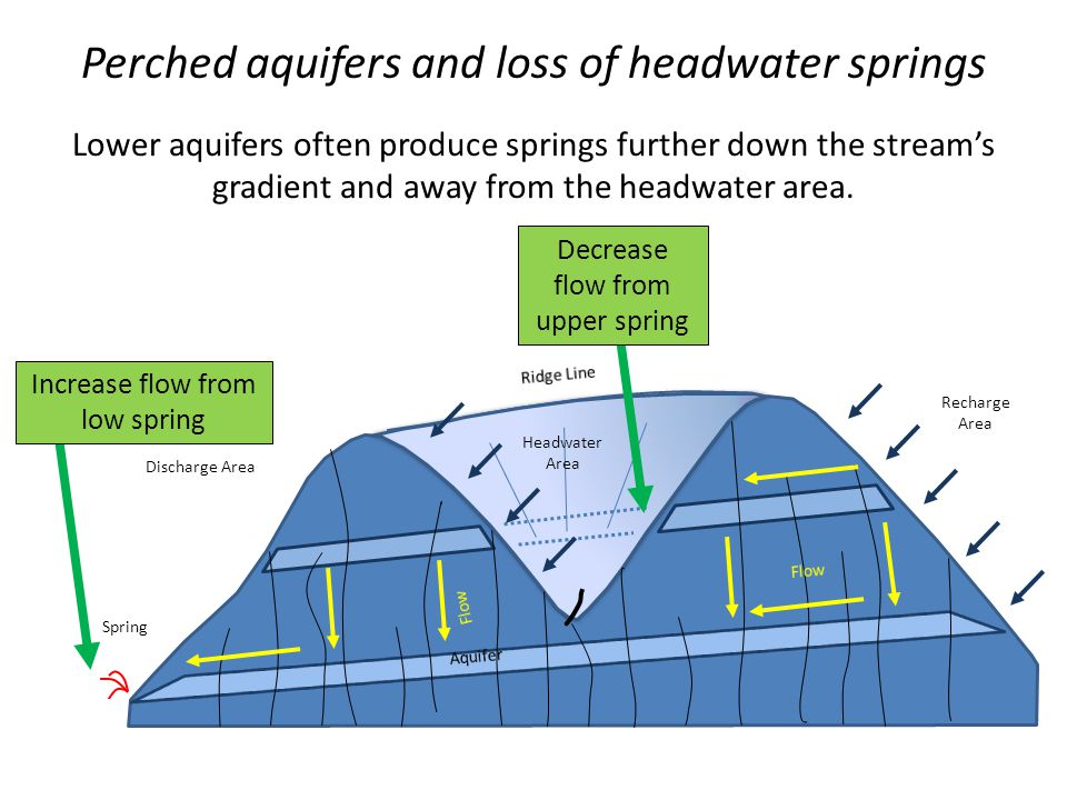 Perched aquifers and loss of headwater springs