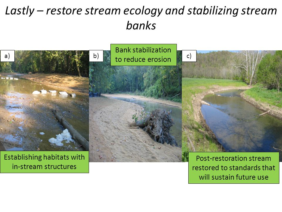 Lastly – restore stream ecology and stabilizing stream banks