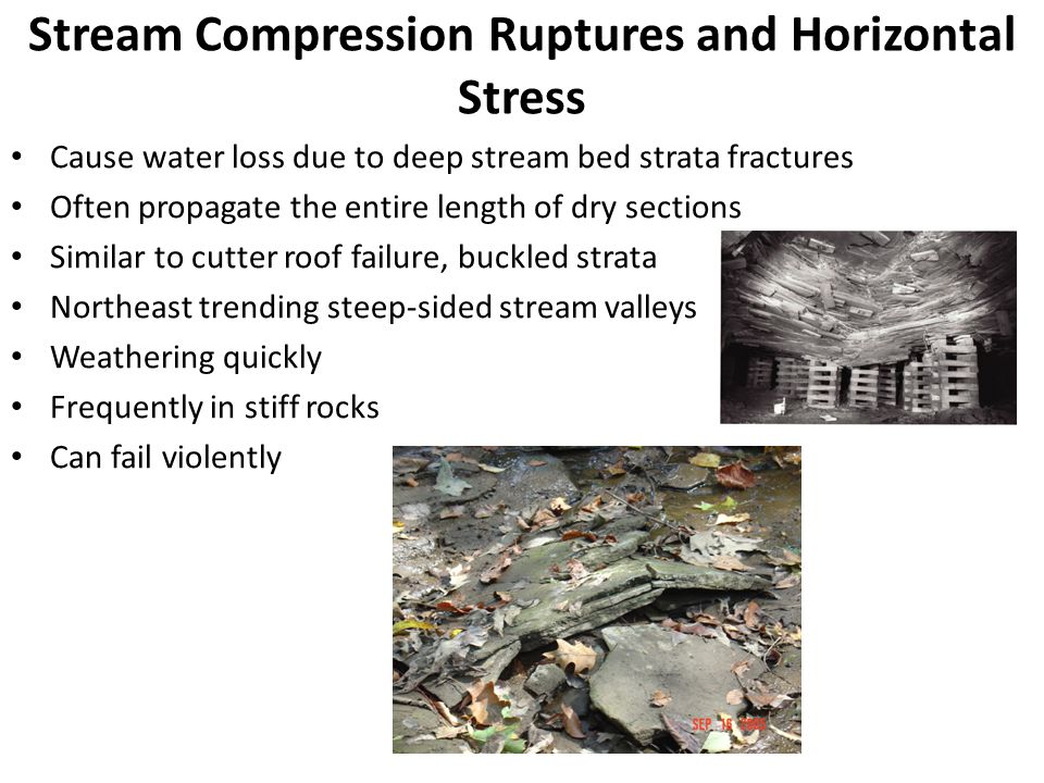 Stream Compression Ruptures and Horizontal Stress