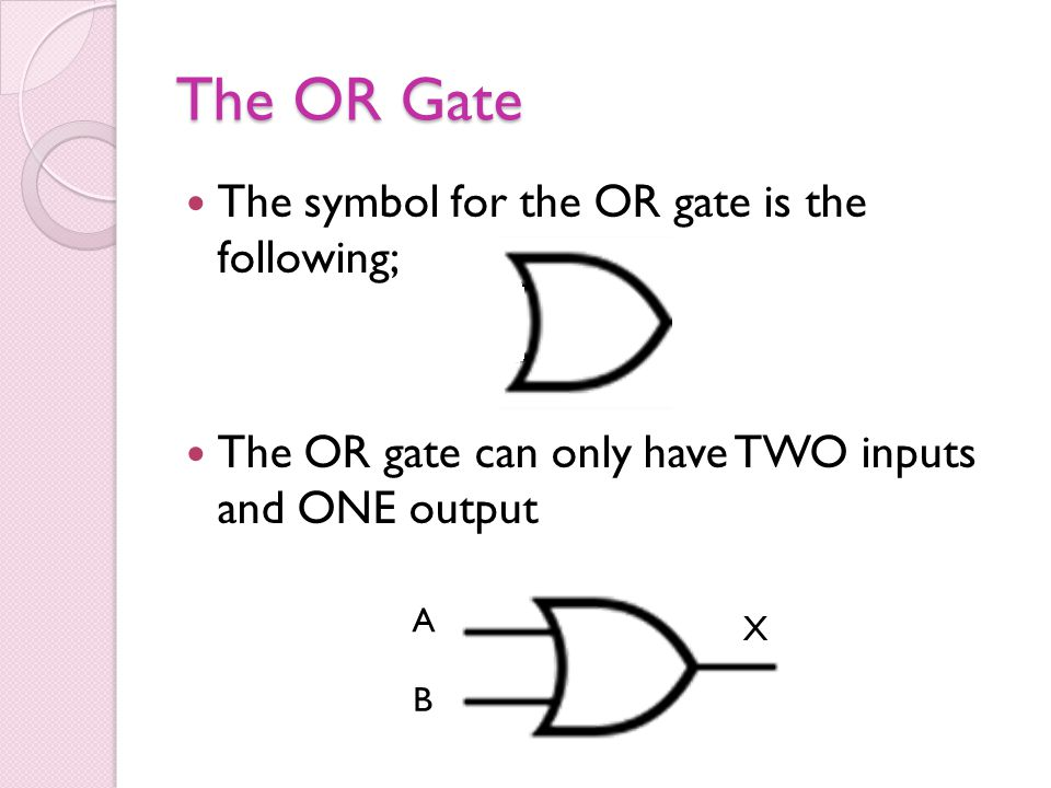The OR Gate The symbol for the OR gate is the following;