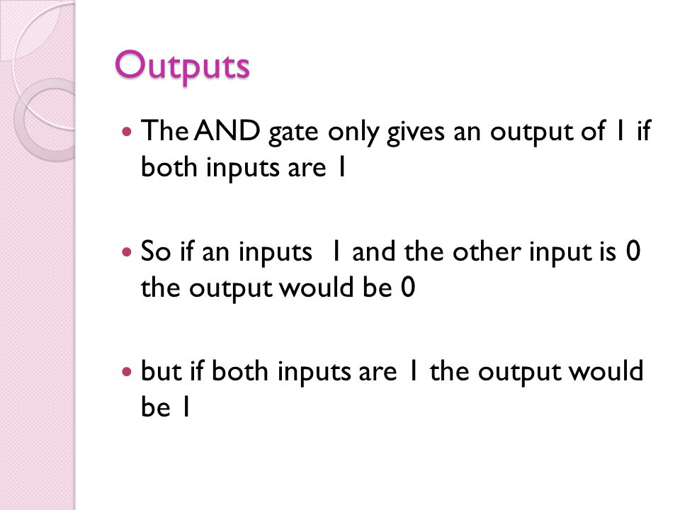 Outputs The AND gate only gives an output of 1 if both inputs are 1