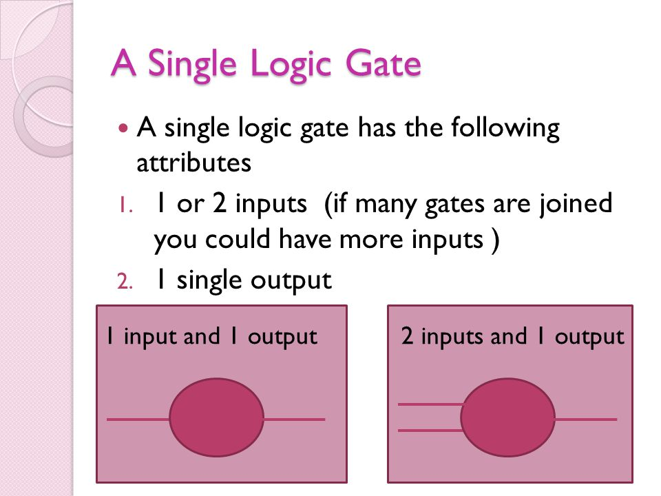A Single Logic Gate A single logic gate has the following attributes