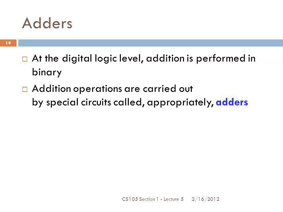Adders At the digital logic level, addition is performed in binary
