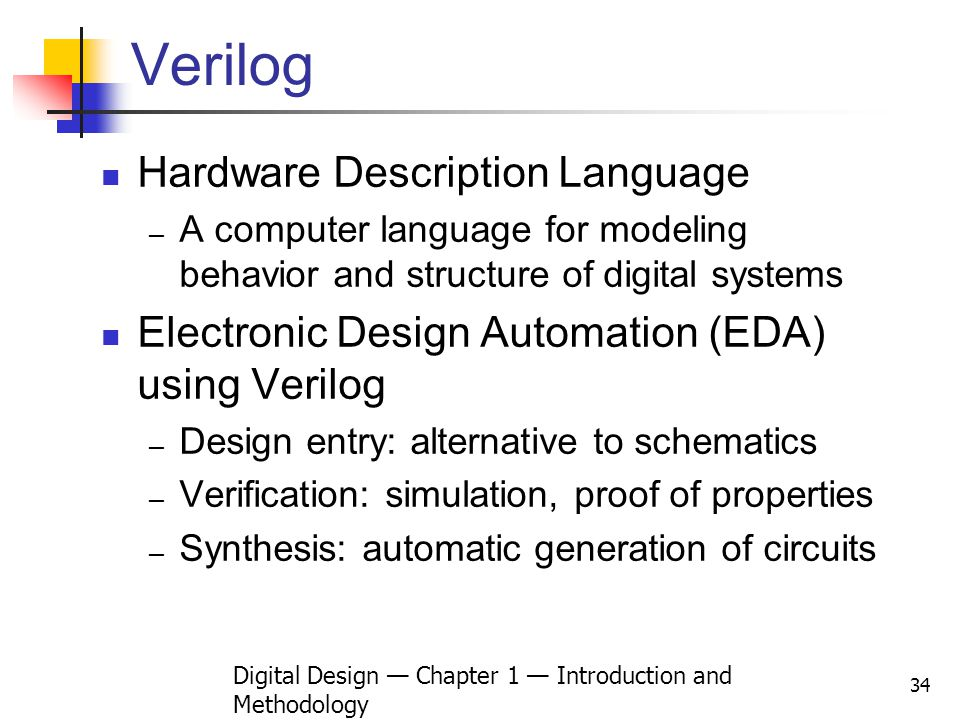Digital Design — Chapter 1 — Introduction and Methodology
