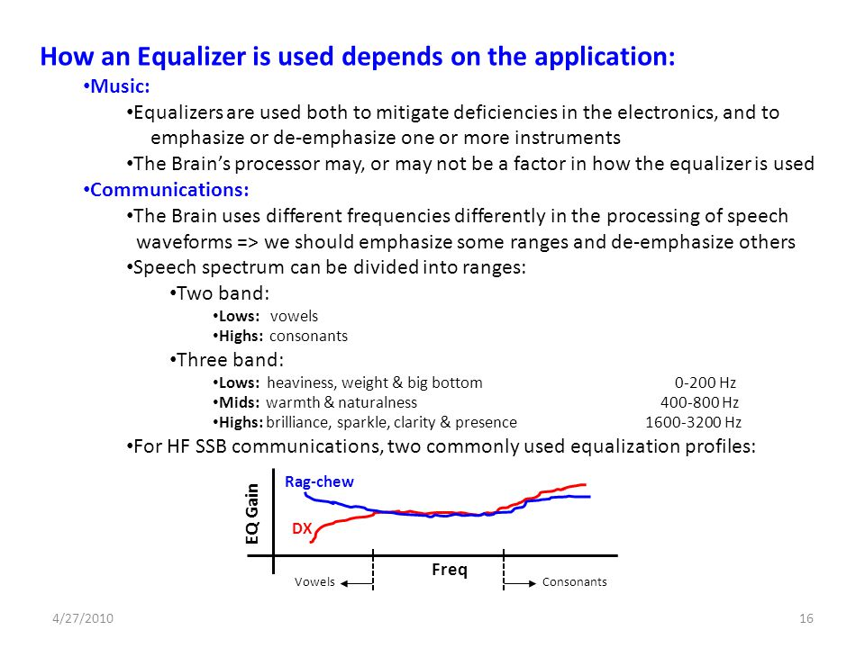 How an Equalizer is used depends on the application: