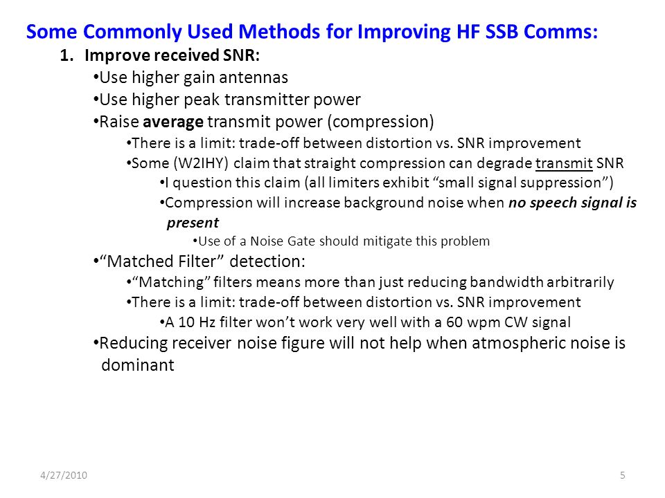 Some Commonly Used Methods for Improving HF SSB Comms: