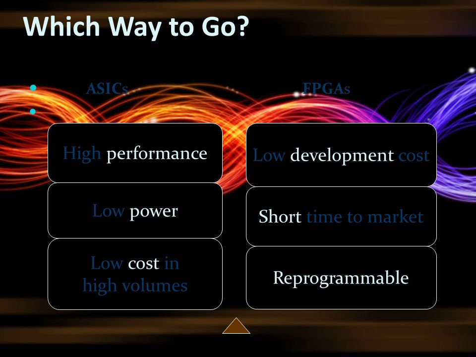 Which Way to Go High performance Low development cost Low power
