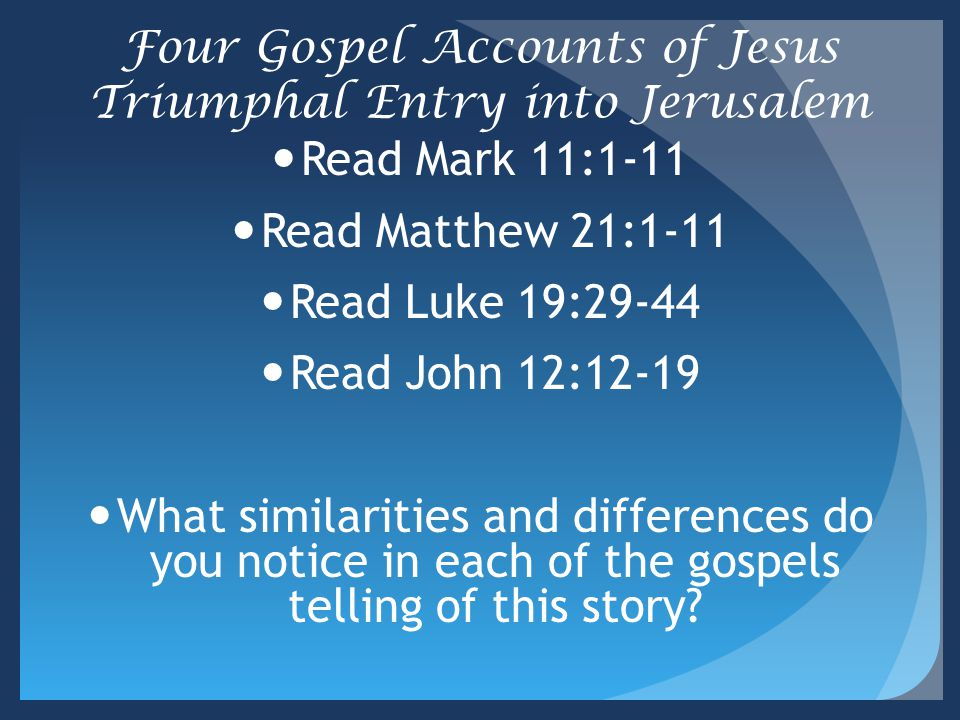 Four Gospel Accounts of Jesus Triumphal Entry into Jerusalem