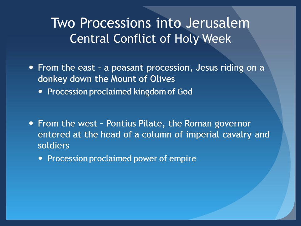 Two Processions into Jerusalem Central Conflict of Holy Week