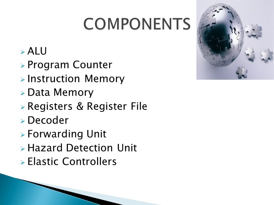 COMPONENTS ALU Program Counter Instruction Memory Data Memory