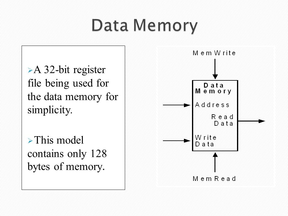 Data Memory A 32-bit register file being used for the data memory for simplicity.