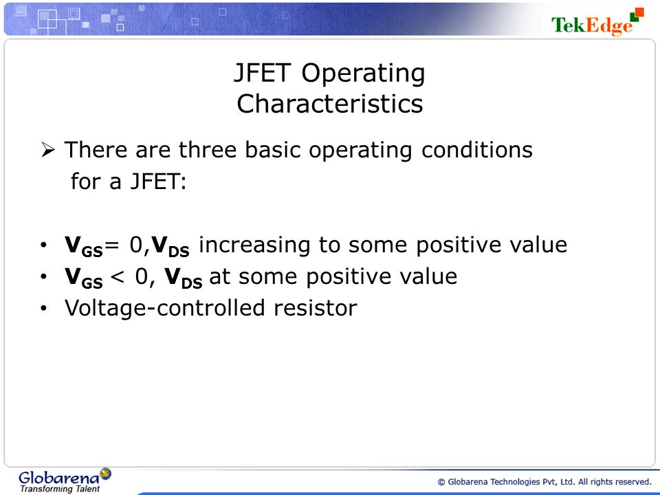 JFET Operating Characteristics