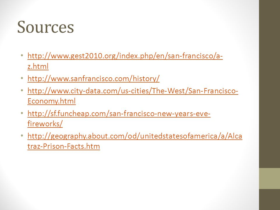 Sources http://www.gest2010.org/index.php/en/san-francisco/a-z.html