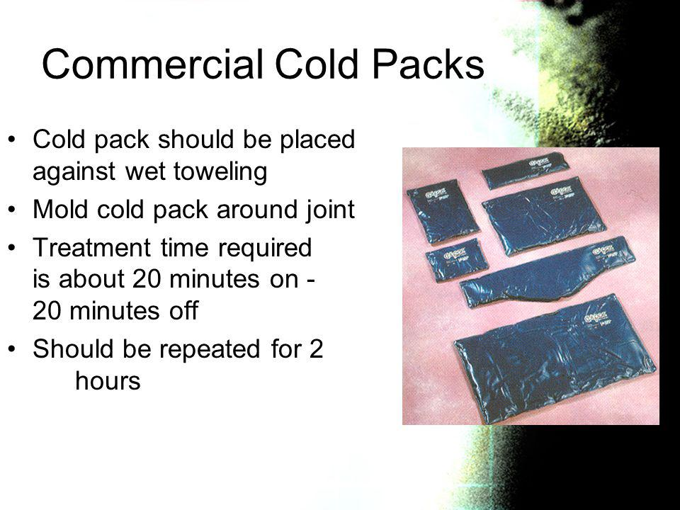 Commercial Cold Packs Cold pack should be placed against wet toweling
