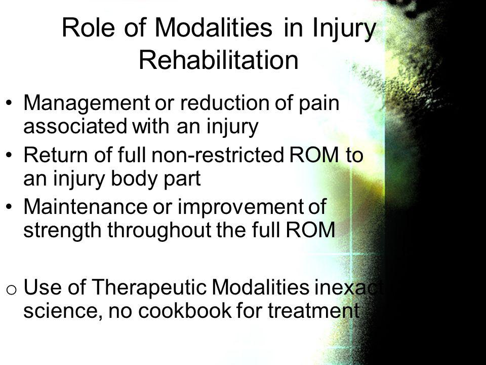 Role of Modalities in Injury Rehabilitation