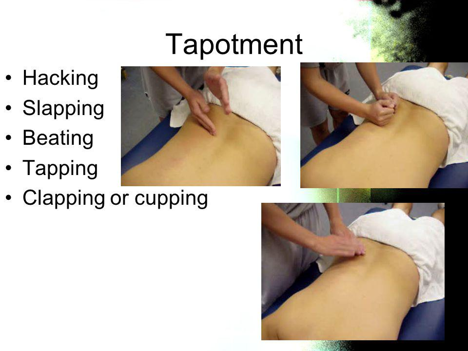Tapotment Hacking Slapping Beating Tapping Clapping or cupping