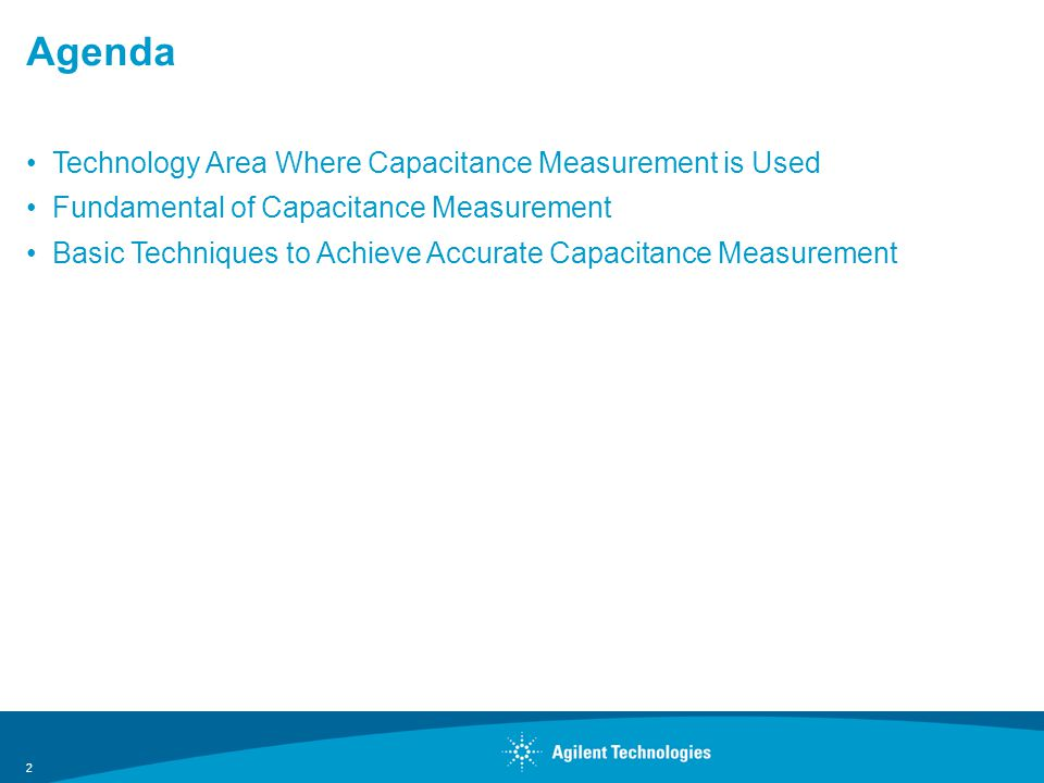Agenda Technology Area Where Capacitance Measurement is Used