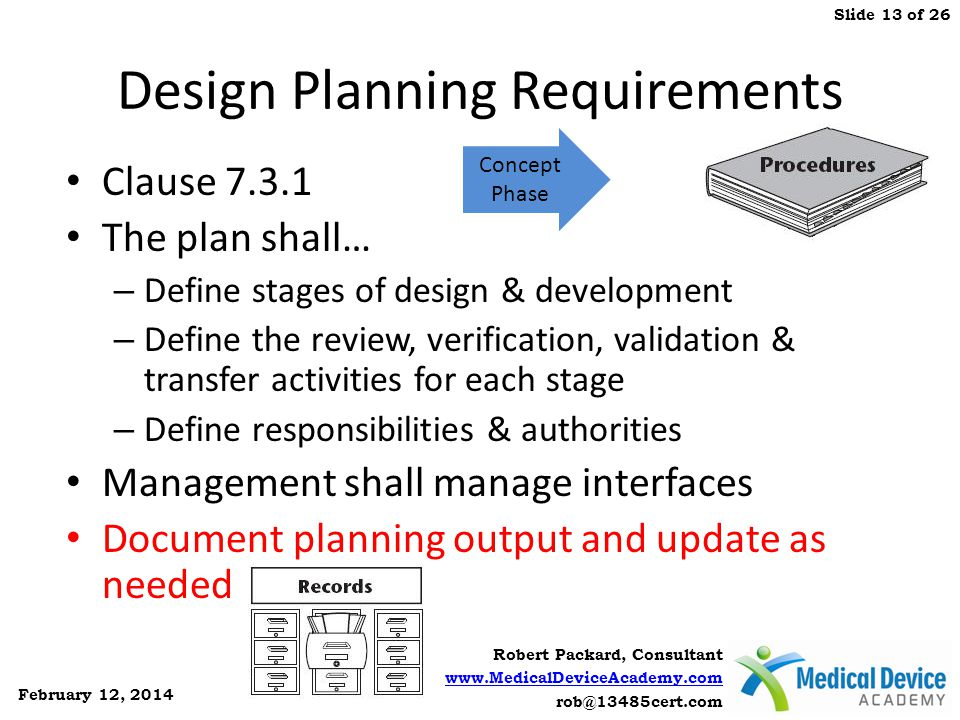 Design Planning Requirements