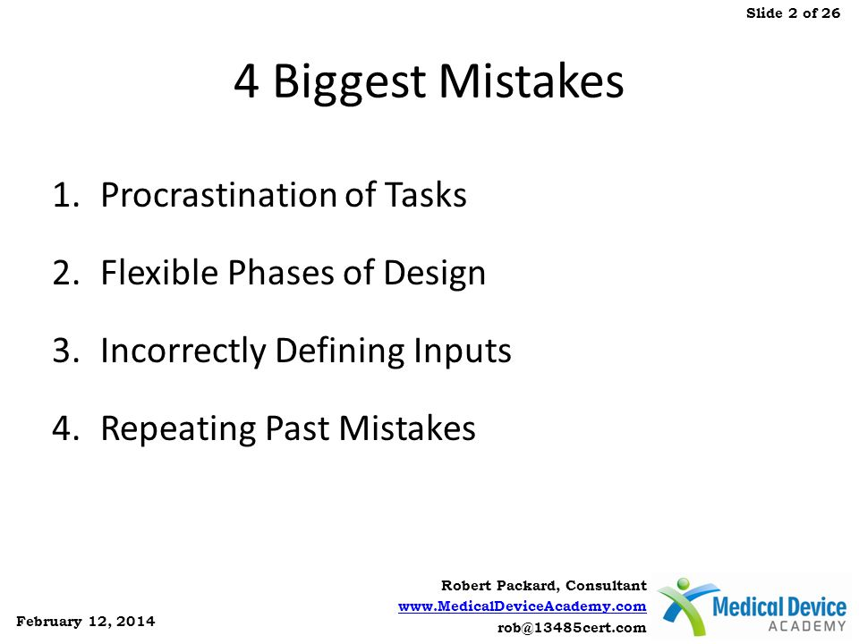 4 Biggest Mistakes Procrastination of Tasks Flexible Phases of Design