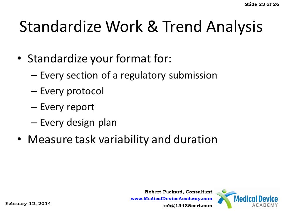 Standardize Work & Trend Analysis