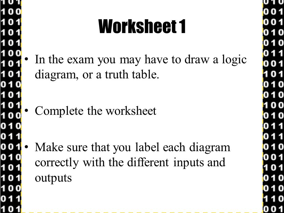 Worksheet 1 In the exam you may have to draw a logic diagram, or a truth table. Complete the worksheet.