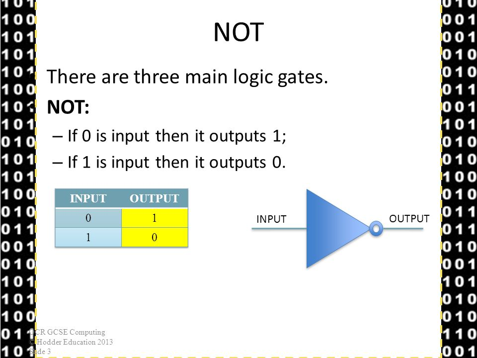 NOT There are three main logic gates. NOT: