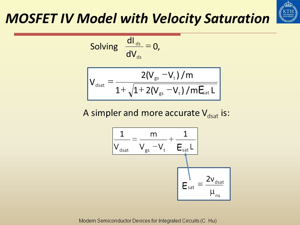 MOSFET IV Model with Velocity Saturation