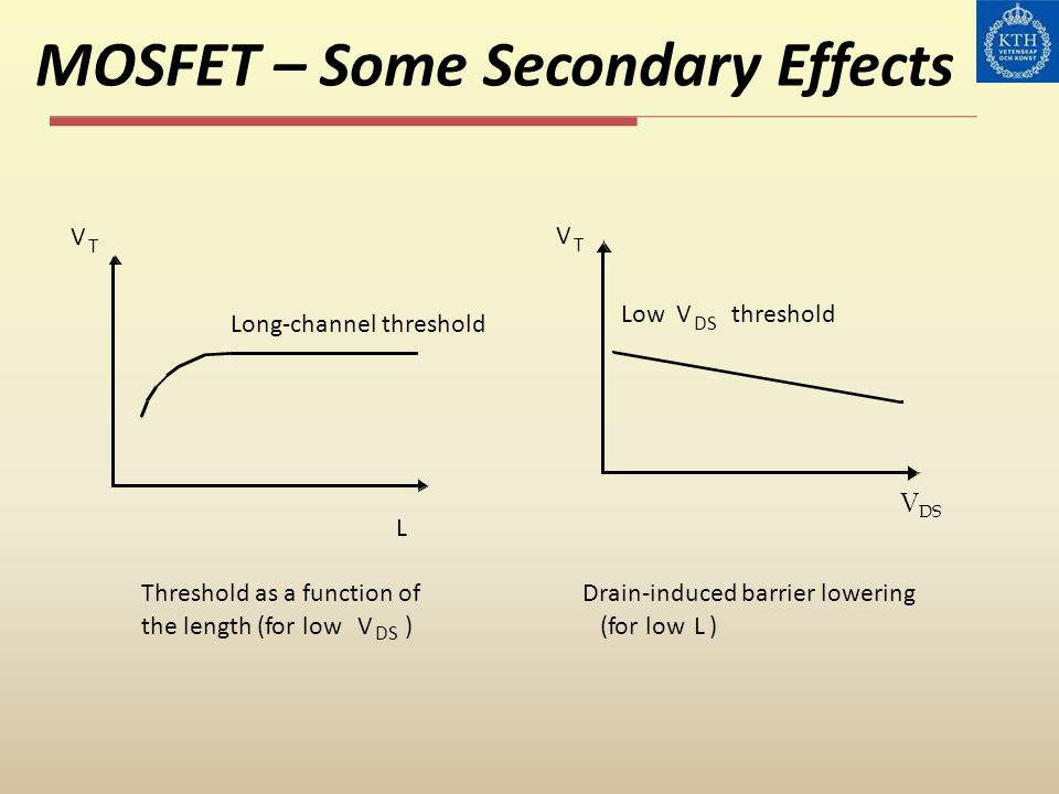 MOSFET – Some Secondary Effects