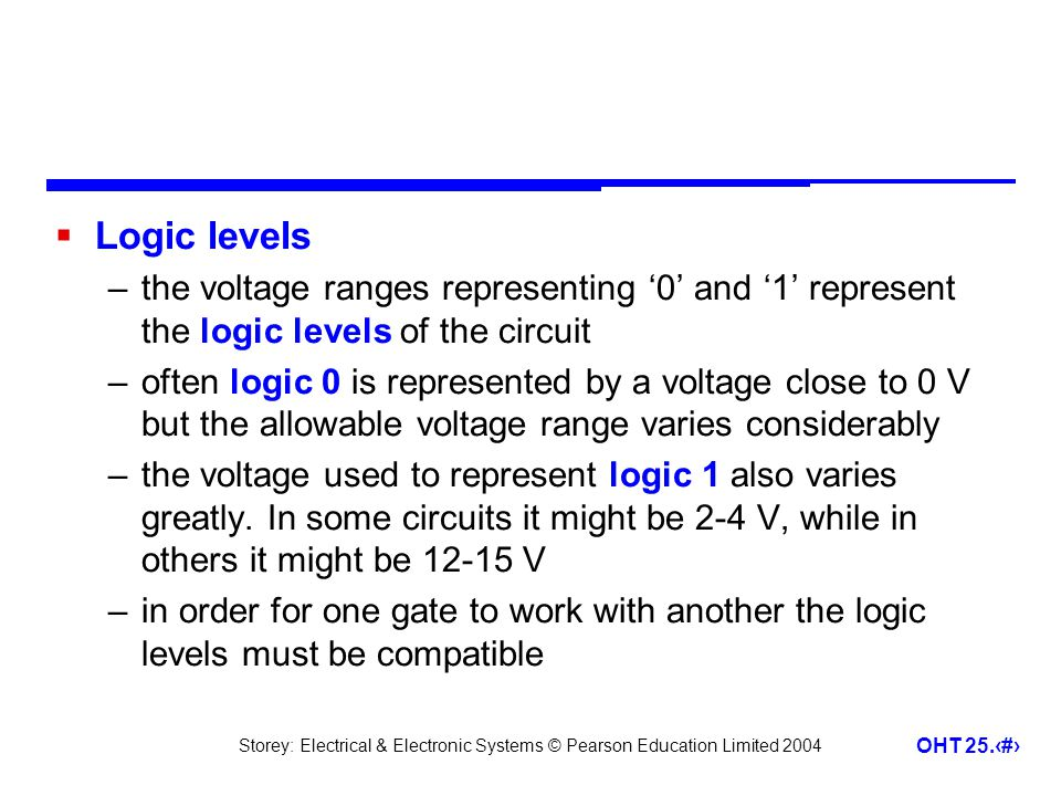 Logic levels the voltage ranges representing '0' and '1' represent the logic levels of the circuit.