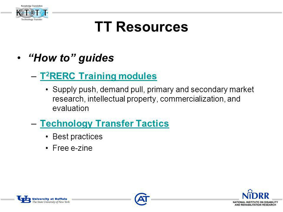 TT Resources How to guides T2RERC Training modules