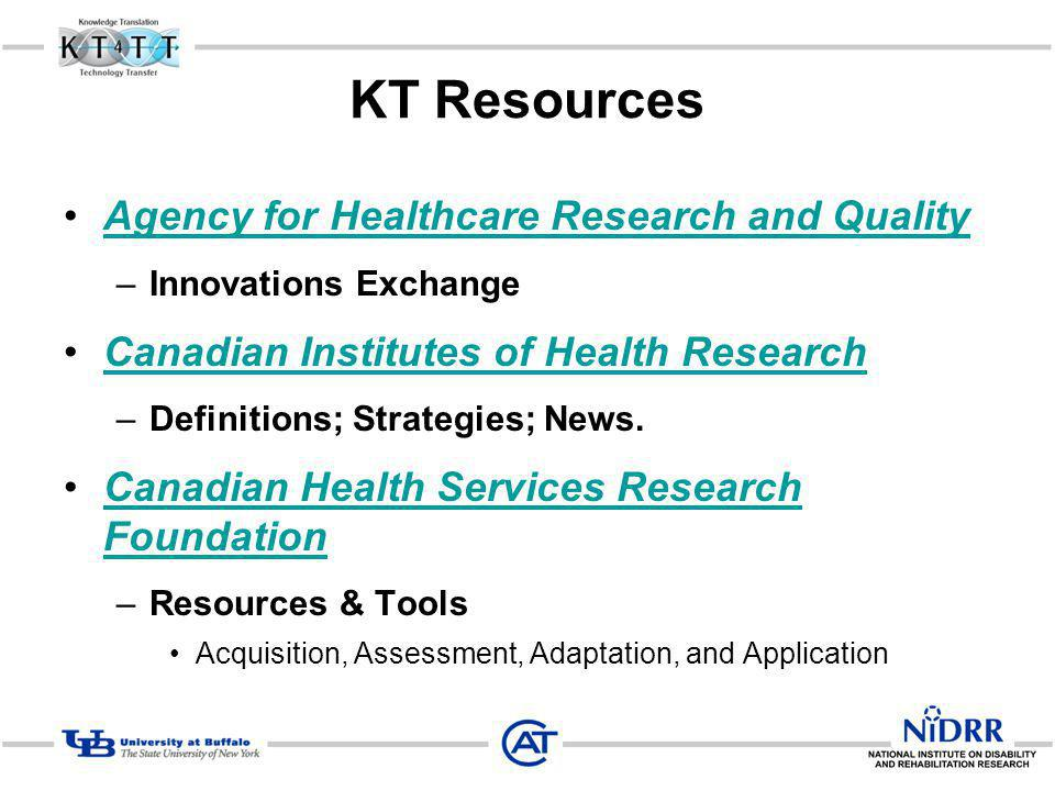 KT Resources Agency for Healthcare Research and Quality